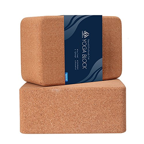 Forbidden Road Cork Yoga Block Yoga Brick 2 Block Set and 1 Block Pack Choose Your Size Cork Yoga Block to Support Back Bends and Select Standing (2 Cork Block Set, 469 inch)