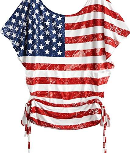 2da9adc3263 DRAGON VINES Womens American Flag T Shirt Girls Off Shoulder Plus Size Short  Sheelve T-Shirts 4th July Patriotic USA Flag Tee Shirts Stripe Stars Tops  ...