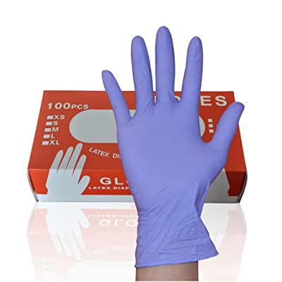 Wenfanal 100pcs Disposable Nitrile Gloves Exam Gloves Latex-Free Powder-Free Gloves Comfortable Natural Rubber Gloves Adults: Clothing