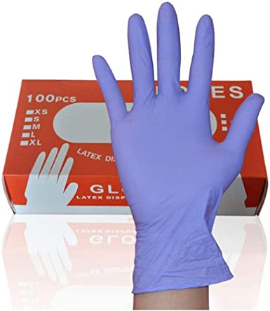 100PCS Nitrile Gloves Disposable Exam Gloves Blue Latex-Free Powder-Free for Factory Workshops Vehicle Maintenance Tattoo Hairdressing Beauty Salons