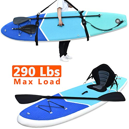 Zupapa All in One Inflatable Stand Up Paddle Board 6 Thick 10 Non-Slip Deck   with Kayak Conversion Kit, Shoulder Strap,Backpack, Coil Leash, Pump Kit