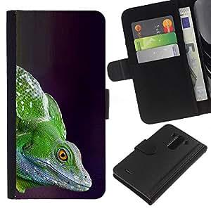 A-type (Chameleon Green Lizard Commando) Colorida Impresión Funda Cuero Monedero Caja Bolsa Cubierta Caja Piel Card Slots Para LG G3