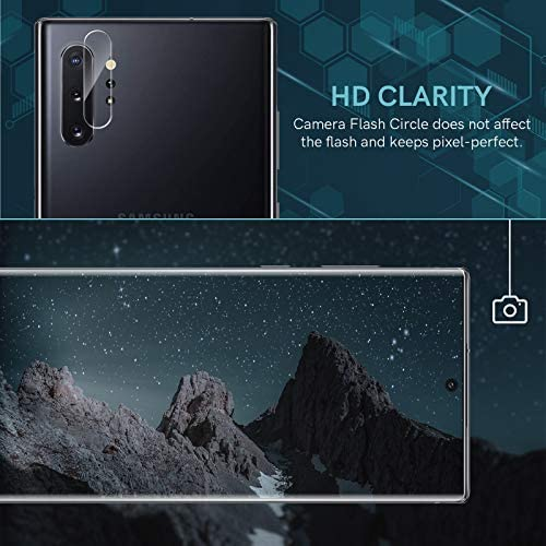 4 Pack EGV 2 Pack Tempered Glass Screen Protector and a pair of Pack Camera Lens Protector Compatible with Samsung Galaxy Note 10 Plus 6.8-inch, Easy Installation Tool, Fingerprint Unlock Compatible