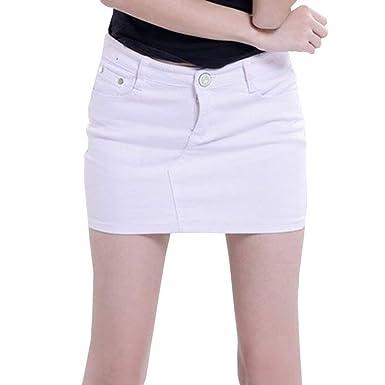 98b699b00e2d3 Yying Jupes pour Femmes Mini-Jupe en Jean Slim Sexy Boutonné Devant ...