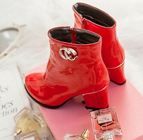 HGTYU-Short Boots And Thick With Female Boots Painted Leather Round Head Single Shoes Red U2ZtlT