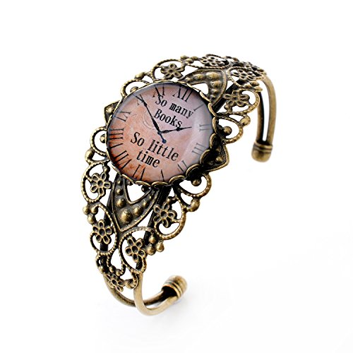LUREME Vintage Jewelry Time Gem Series Pocket Watch Antique Bronze Hollow Flower Open Bangle Bracelet for Women (06002708)