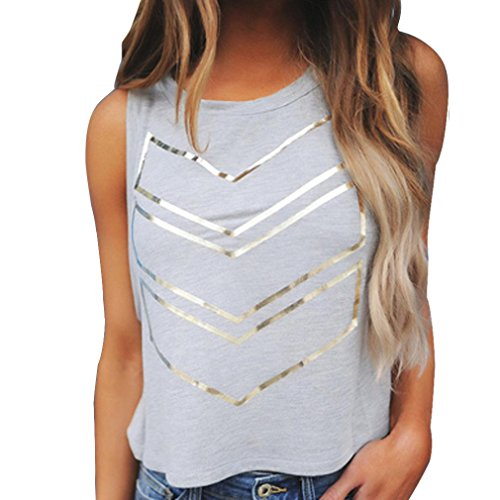 Price comparison product image Casual Tank Tops,Clearance! AgrinTol Women Summer Fashion Printing Sleeveless Vest T-Shirt (L, Gray)