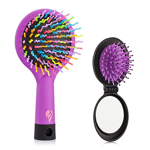 Detangling Hair Brush - Flend Rainbow Comb Pairs for Adults & Kids - Detangle Hair Easily With No Pain (Purple) (Pocket Hair Dryer compare prices)