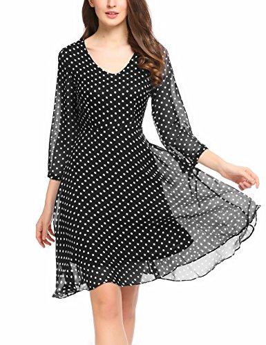Summer Casual Chiffon Dress (Black) - 6