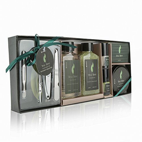 Tea Tree Essential Oil Spa Gift Set – 6pc Pamper Kit with Hand Soap, Lotion, Scrub, Manicure Pedicure Tools Pack & 2 Nail Polishes