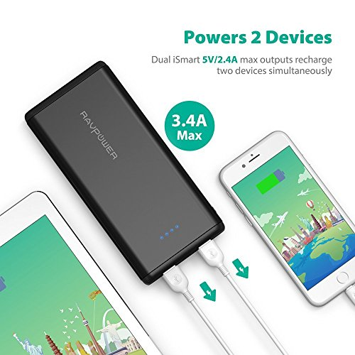 Portable Chargers RAVPower 20000mAh USB Battery Pack with Dual iSmart 2.0 USB Ports, 3.4A Max Output, 2.4A Input Power Bank for iPhone, iPad, Galaxy, and Android Devices by RAVPower (Image #3)