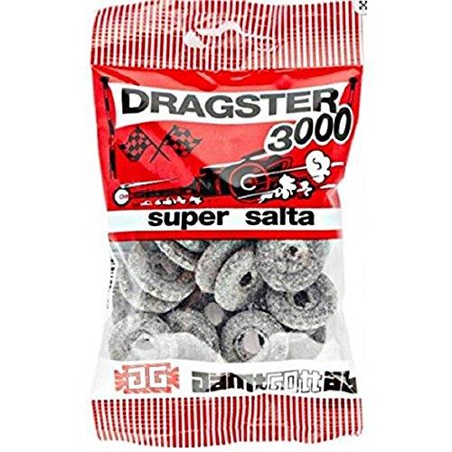 (3 Bags x 50g of Dragster 3000 Super Salta - Original - Swedish - Salty Licorice - Salmiak - Salmiac - Wine Gums - Candies - Sweets)