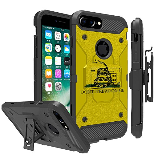 Untouchble Case for Apple iPhone 6 Plus, iPhone 7 Plus, iPhone 8 Plus Case - Triple Protection Holster Belt Clip Holder Case with Kickstand TANK SERIES - Don't Tread On Me