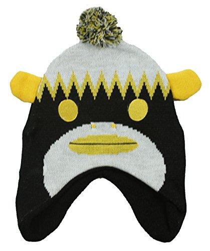 (Outerstuff Pittsburgh Steelers NFL Big Boys Sock Monkey Knit Hat with Pom, Black (OSFA, Black))
