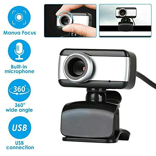 VIBOTON Webcam HD 480P for PC Laptop Desktop, USB Webcam with Microphone for Video Conferencing Video Calls, USB Full HD Webcam Compatible with Skype, FaceTime, Hangouts, Plug and Play