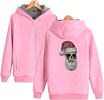 メンズパーカーフルジッパー印刷サンタクロースフリースパッド入りフード付きセーターコートフリースパーカー、冬に適しています。
