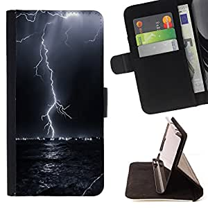 For Sony Xperia Z2 D6502 Thunder Lightning Storm Sky Black Night Style PU Leather Case Wallet Flip Stand Flap Closure Cover