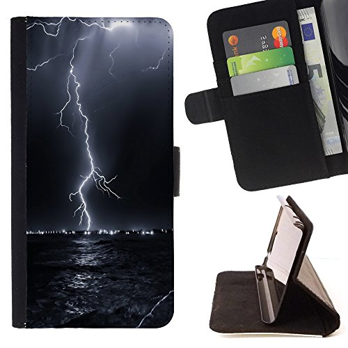 All Phone Most Case / Special Offer Smart Phone Leather Wallet Case Protective Case Cover for SAMSUNG GALAXY J3 PRO // Thunder Lightning Storm Sky Black Night