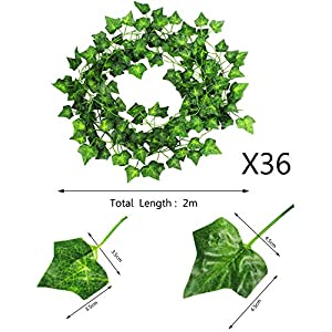 CEWOR Artificial Ivy Fake Greenery Vine Leaves for Home Wedding Garden Swing Frame Decoration 2