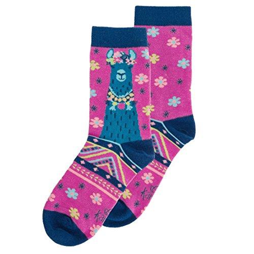 Llama Floral Purple Women's One Size Stretch Knit Crew Socks ()