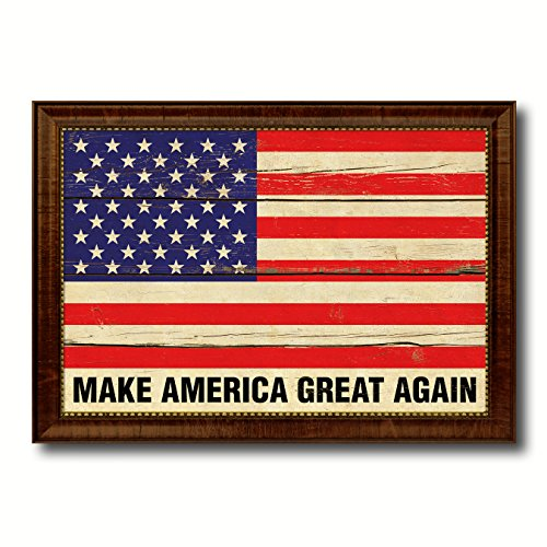 Make America Great Again USA Vintage Flag Brown Framed Canvas Print Home Decor Wall Art Gifts Signs Cards - America Frame Great Again Make