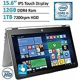 2017 HP Envy x360 15.6 Touchscreen 2-in-1 IPS FHD (1920 x 1080) Laptop PC | Intel Core i5-7200U | 12GB DDR4 RAM | 1TB HDD | Backlit Keyboard | Bluetooth | HDMI | B&O Play | Windows 10