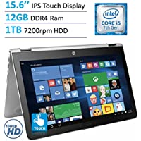 2017 HP Envy x360 15.6 Touchscreen 2-in-1 IPS FHD (1920 x 1080) Laptop PC | Intel Core i5-7200U | 12GB DDR4 RAM | 1TB HDD | Backlit Keyboard | Bluetooth | HDMI | B&O Play | Windows 10