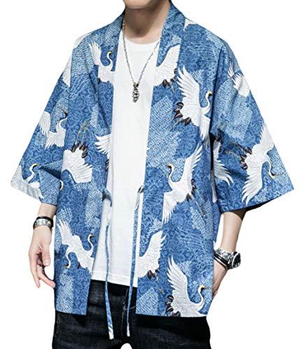 [ShuMing]カーディガン メンズ 夏 和式パーカー 七分袖 ゆったり 羽織 カジュアル 開襟 UVカット コーディガン 和風 おしゃれ サマーカーディガン
