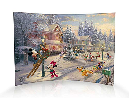 Trend Setters Disney - Mickey Mouse - Minnie Mouse - Victorian Christmas - Curved Acrylic Photo Print - Free Standing Light Catching Photo Décor - for Gifting and Collecting Ltd. (Kinkade Victorian Snowman Thomas Christmas)