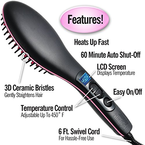 Estilo Straight Ceramic Electric Digitalfast Brush Magic Hair Straightener Comb
