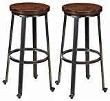 Image of Ashley Furniture Signature Design - Challiman Bar Stool - Pub Height - Set of 2 - Rustic Brown