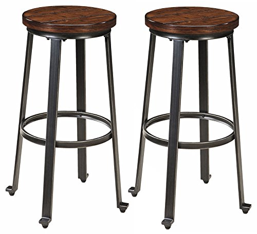 Ashley Furniture Signature Design - Challiman Bar Stool - Pub Height - Set of 2 - Rustic Brown (Ashley Outdoor Furniture)
