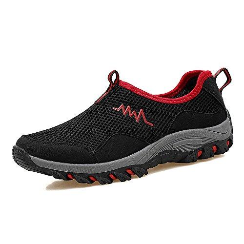 Hasag Zapatillas de Deporte Transpirables de Verano Zapatos de Red de Mediana Edad y Ancianos Zapatos Zapatos de los Ancianos Ocasionales de los Deportes Zapatos de Tela Mujeres black