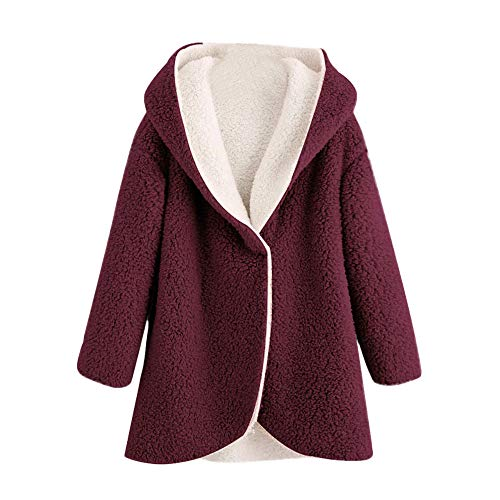 COPPEN Women Coat Winter Curved Hem Longline Faux Fur Sherpa Fleece Hoodie ()