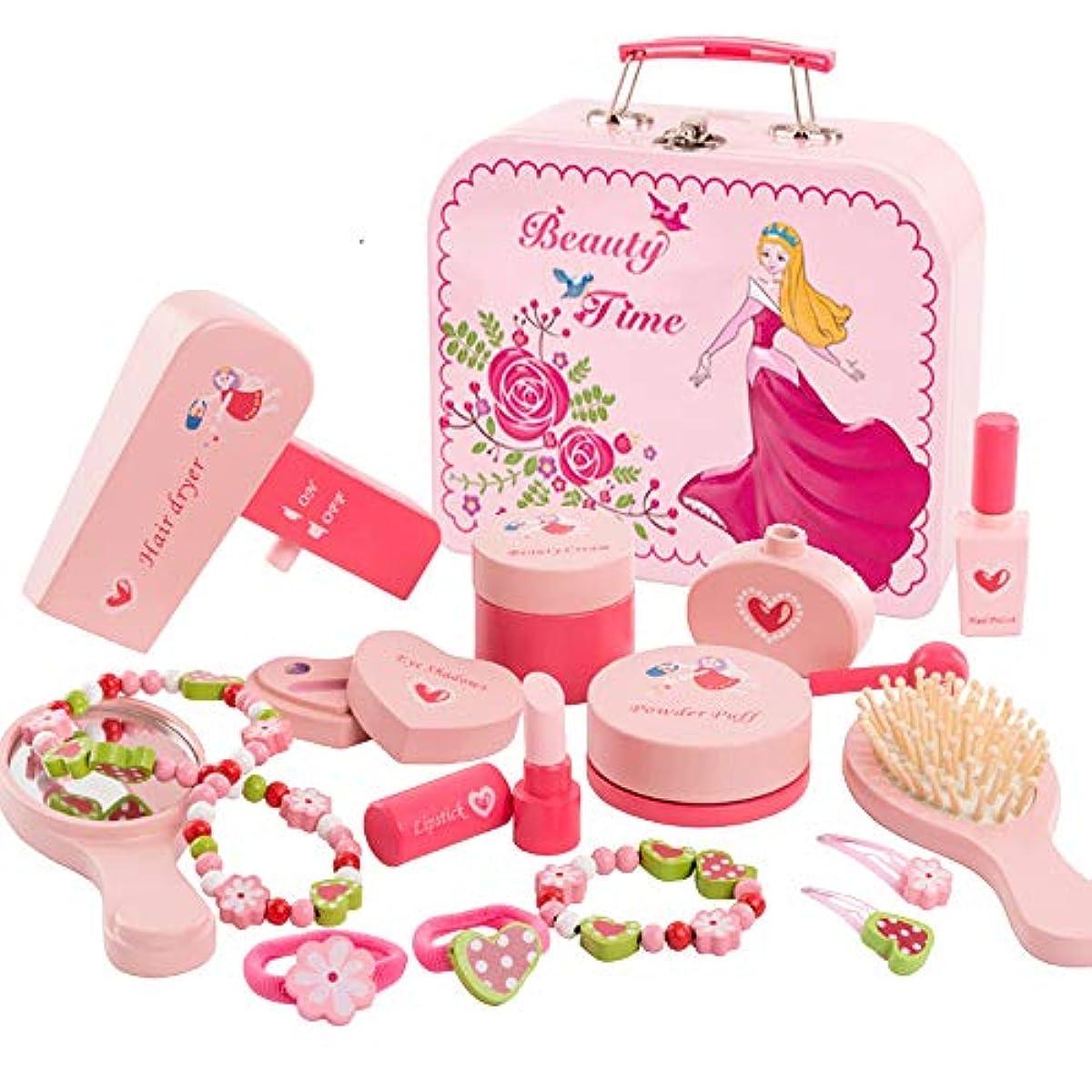 [해외] HJXDJP-내구성이 있는 목제의 ## 플레이 세트,어린이용 화장품 장난감,헤어 드라이어이어와 빗과 거울,합성피혁계16개의 화장 도구,금속의 화장품 상자에 가득 처넣어져 있는다 (16 PCS)