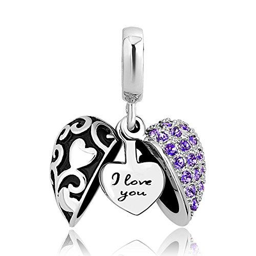 ShinyJewelry I Love You Heart Charm Dangle Bead for European Bracelet Necklace (Purple Set Charm Bracelet)