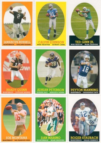 - Lot of 4 Topps Football Complete sets - 2005, 2006, 2007, 2008 Turn Back The Clock - 88 total cards - loaded with Super Stars and Rookie Cards - Montana, Peyton, Staubach, Adrian Peterson, Marshawn Lynch, Tom Brady and many more - Great Gift Lot