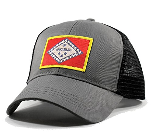Homeland Tees Men's Arkansas Flag Patch Trucker Hat - Grey (Springs Eureka Christmas Day)