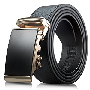 Men's Genuine Leather Belt- Ratchet Black Dress Belt for Men with Automatic Buckle. (Up to Size 46, Black With Buckle #05)