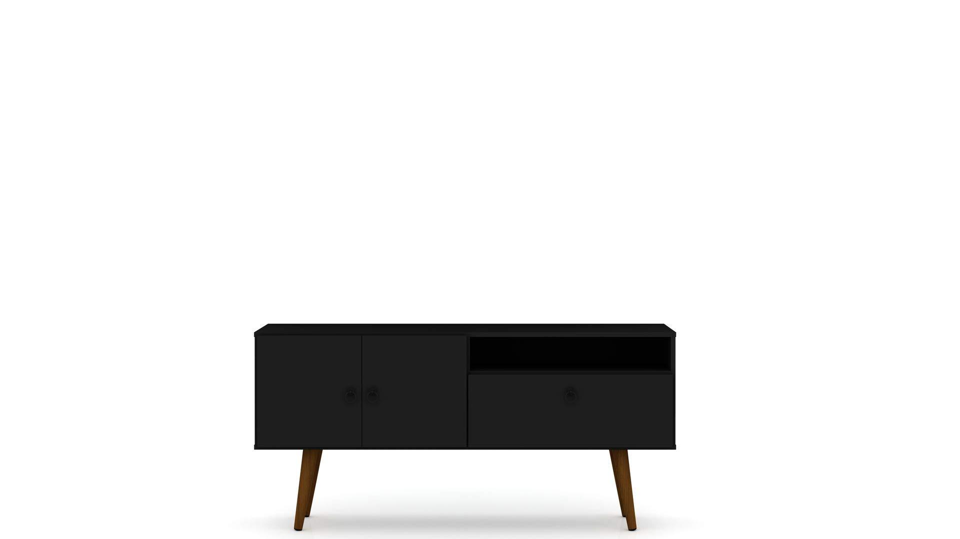 Midcentury Modern TV Stand in Black by Manhattan Comfort