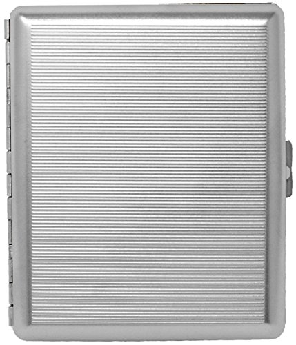 (Silver Classic (Full Pack 100s) Metal-Plated Cigarette Case & Stash Box)