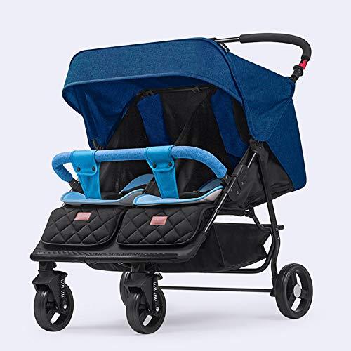 Side by Side Double Stroller for Infant Toddler Tandem Stroller Foldable Baby Stroller, Adjustable Backrest, Push Handle and Footrest,Blue