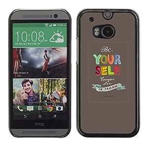 PC/Aluminum Funda Carcasa protectora para HTC One M8 Yourself Quote Text Motivational / JUSTGO PHONE PROTECTOR