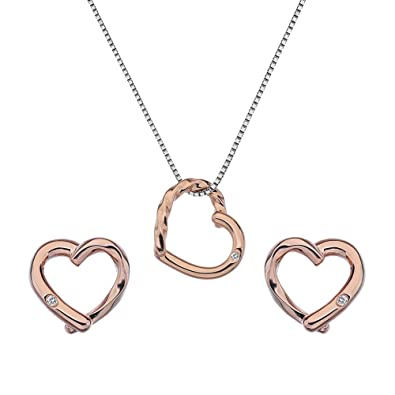 Hot Diamonds Women's Sterling Silver Twist Heart Set Gy3Xe