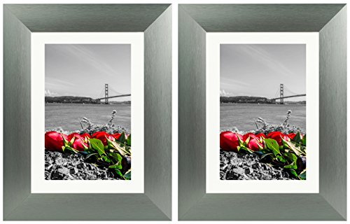 Frametory, Set of Two 5X7 Tabletop Brushed Metal Frame Collection, Aluminum Photo Frames with Ivory Color Mat for 4X6 Picture & Real Glass (Grey)