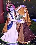 Madhubani Art of Lord Krishna & Radha Miniature Handmade Painting On Old Vintage Paper from India