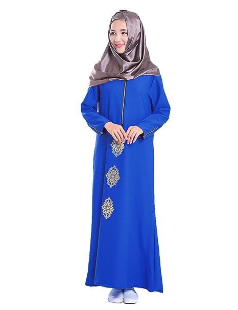 GladThink Signore arabo musulmano caftano vestito lungo Maxi Blu  Amazon.it   Abbigliamento 7b4f38819234