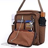Unisex Canvas Messenger Bag Shoulder Crossbody Purse with Side Pocket for Water Bottle Umbrella
