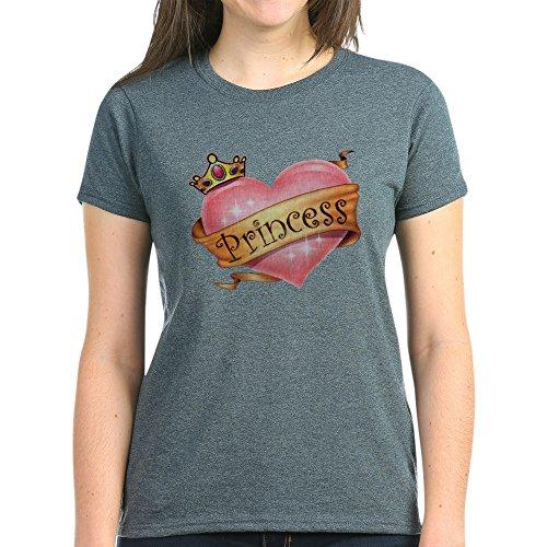 Royal Lion Women's Dark T-Shirt Princess Crowned Pink Heart - Charcoal Heather, Medium