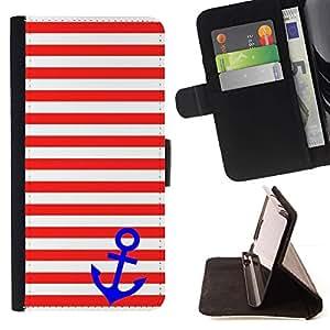 For Samsung Galaxy S6 EDGE (NOT S6) Case , White Stripes Líneas Blue Anchor Marinero- la tarjeta de Crédito Slots PU Funda de cuero Monedero caso cubierta de piel